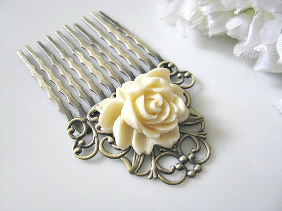 Bridal Hair Comb, Flower Hair Comb, Cream White Rose Flower Antique Brass Filigree Hair Comb - Bride, Bridesmaid Hair Accessory