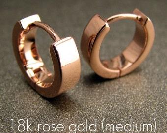 Men's hoop earrings in a rose gold polished finish, men's earrings hoop, huggie hoop earrings for men, handmade from sterling silver, E150SR