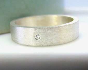 Men's wedding band - sterling silver wide gold band - solid silver wedding band - flat gold band - unique men's wedding band - 6mm tube ring