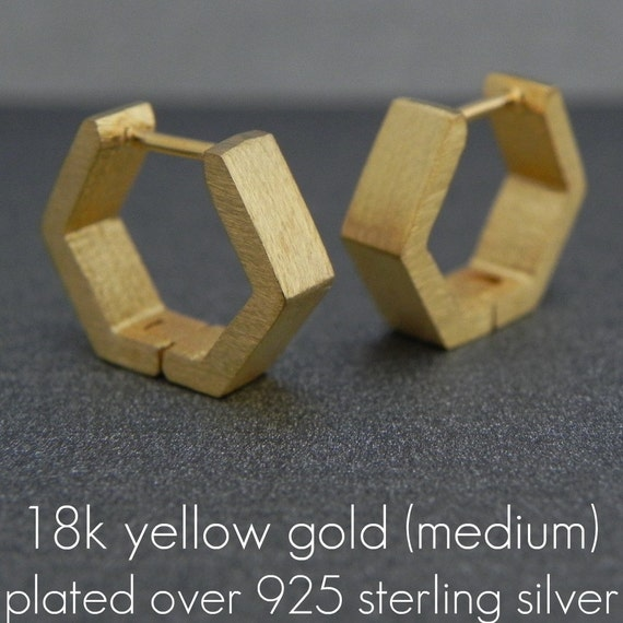 Geometric Hoop Earrings for Men - 18K Yellow Gold over Sterling Silver - Hexagon Medium Size (no.E250MY)