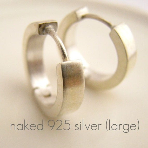 mens sterling silver hoop earrings matte sterling silver mens earrings hoop huggie 6651