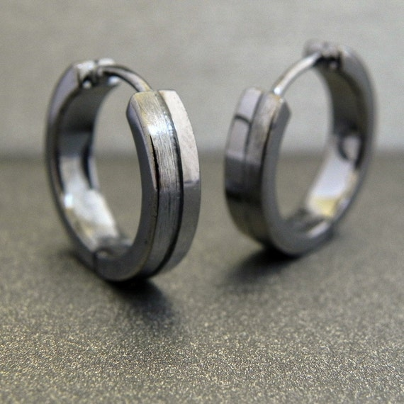 Mens Earrings 18K Black Gold Hoop - over 925 Sterling Silver - Large Size Half Half (no.E191MB)