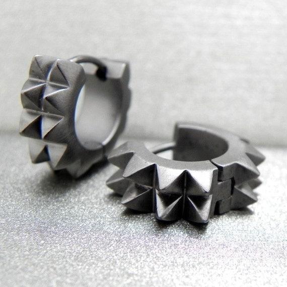 Men's hoop earrings, double spike hoop earrings, charcoal black hoop earrings, huggie hoop earrings for men, men's earrings hoops, E154MB