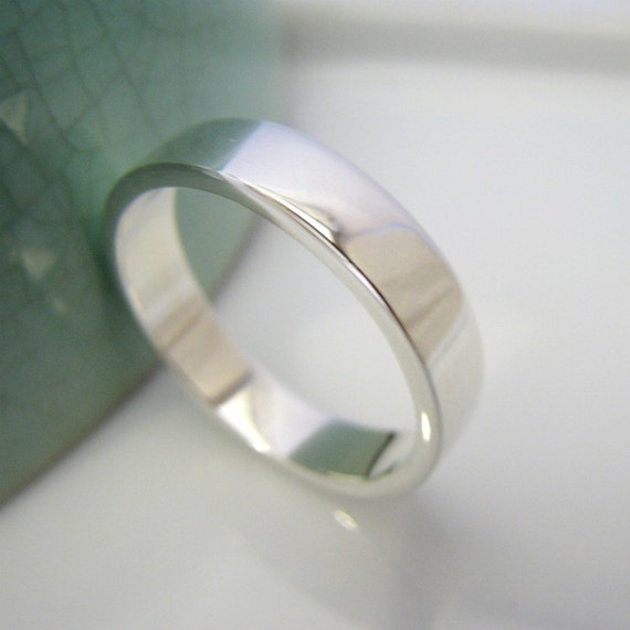 wedding band polished white gold rhodium plated by