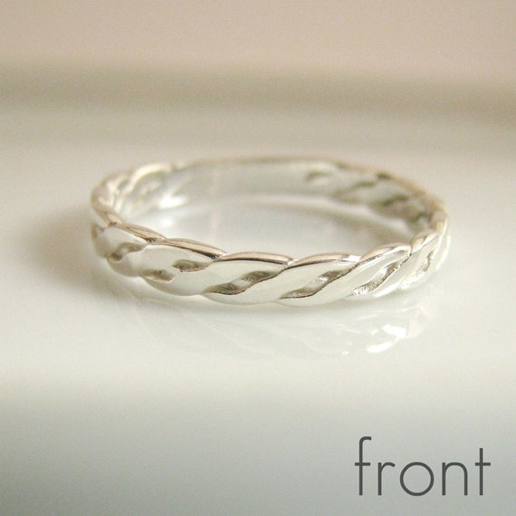 3mm Celtic Ring - White Gold Rhodium Plated - 925 Sterling Silver Ring  - Wedding Engagement