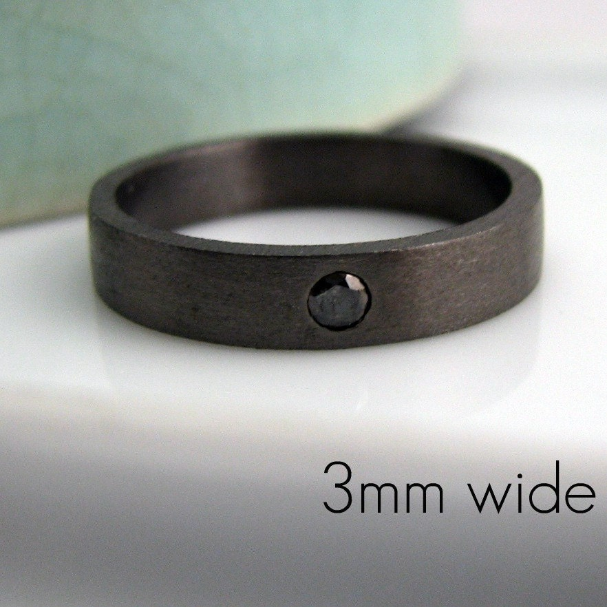 zoomBlack diamond 3mm wedding band decorative black gold color. Mens Black Gold Wedding Band. Home Design Ideas