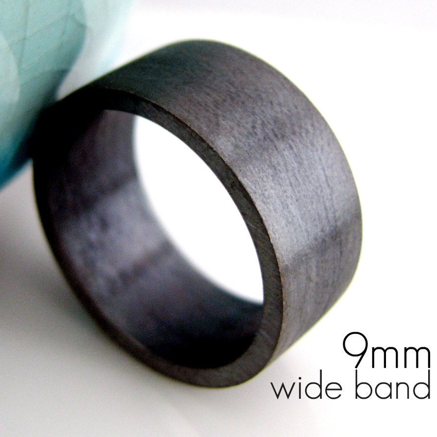 9mm Wedding Band Black Gold Plated over 925 Silver