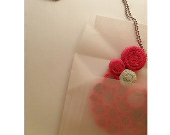 Crochet and jersey necklace - electric pink