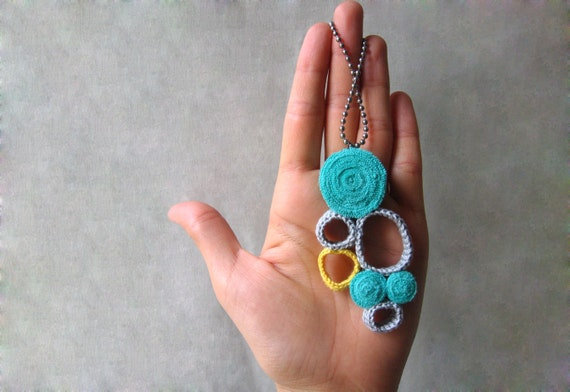 SALE - Crochet and jersey necklace - sun in the sky