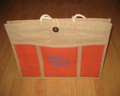 flint handmade jute tote bag with pocket