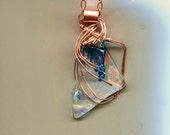 CLEARLY BEAUTIFUL...Dichroic and copper wire wrapped  pendant