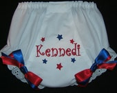 Personalized 4th of July Patriotic Diaper Cover Bloomer Red White and Blue Fancy Panties Monogrammed