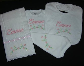 Personalized 3 Piece Baby Gift Set One-piece/Burp Cloth/Bib Monogrammed