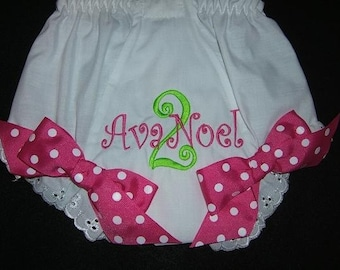 Personalized Monogrammed  Birthday Diaper Cover Bloomers Panties