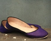 soft leather ballet flats. Purple Love.