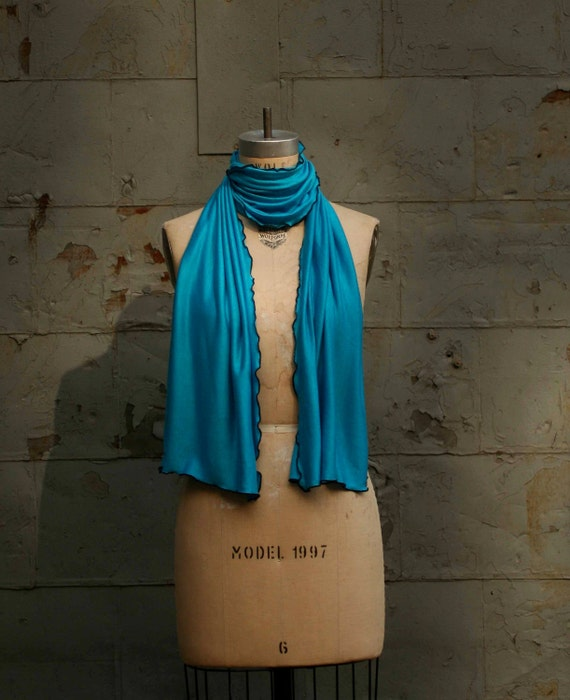 SALE Fashion Summer Scarf -Soft Jersey- Ruffled Edge -Turquoise Blue-Ready to Ship