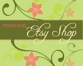 PreMade Etsy Shop Set -  Green and Peach Florals - Business Card, Banners, Avatars, and Other Graphics