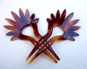 Vintage hair combs signed YSL Yves Saint Laurent matched pair faux tortoise