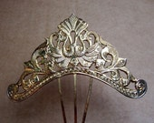 Vintage hair comb Victorian Anglo Indian pale gold tone scrollwork (AAU)