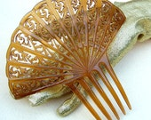 Vintage hair comb Art Deco large amber fan shape hair accessory