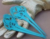 Vintage hair combs Japanese kanzashi pair blue Art Deco hair accessory (AAK)