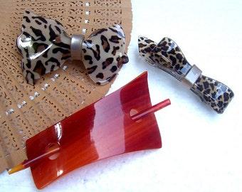 Vintage hair barrettes 3 animal skin hair accessories hair slide hair clip hair jewelry hair ornament headdress decorative comb (I)