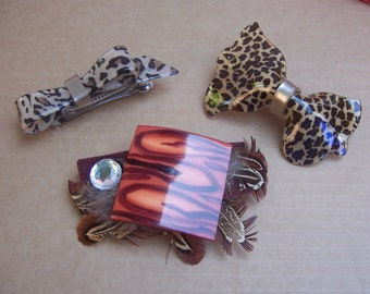 Vintage hair barrettes 3 animal skin hair accessories slide hair comb hair barrette hair clip vintage hair jewelry hair ornament (M)