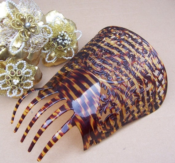 Vintage hair comb large faux tortoiseshell Spanish dance mantilla hair accessory