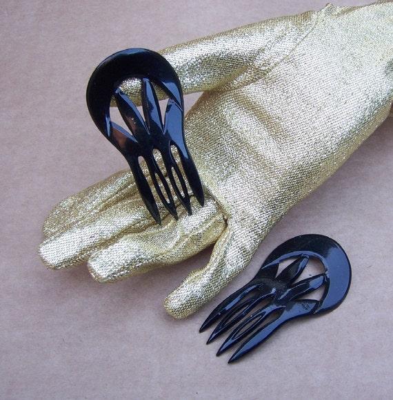 Vintage hair combs, 2 YSL Yves Saint Laurent hair pins black hair accessory (O)