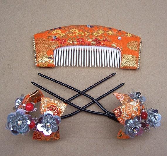 Vintage hair combs hairpin Geisha set Japanese kanzashi hair accessory