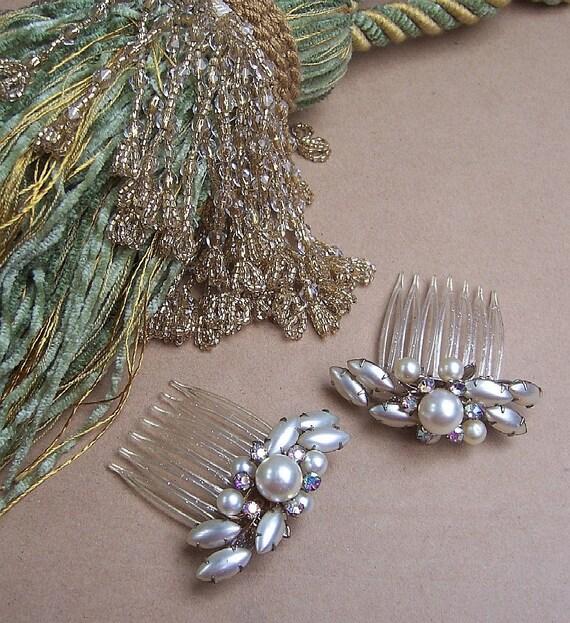 Vintage Hair Combs, Two Faux Pearl Rhinestone Hair Accessories 1950s