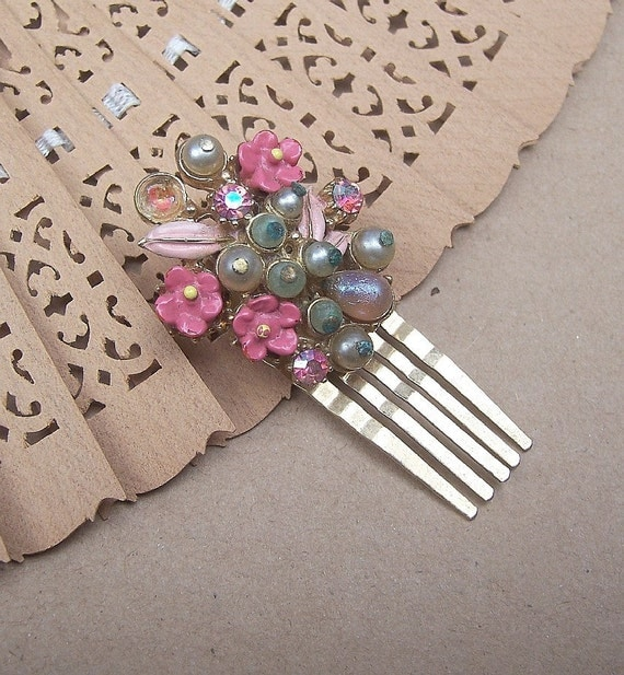 Rhinestone florenza comb hairpin 1950s (AT)