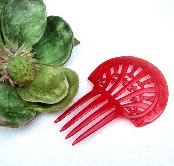 Vintage hair comb red celluloid Art Deco period mantilla style hair accessory