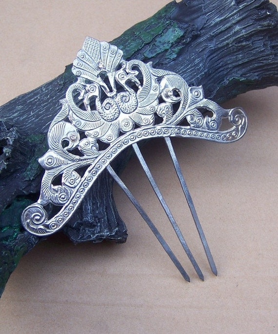 Hair comb silvertone vintage Anglo Indian hair accessory