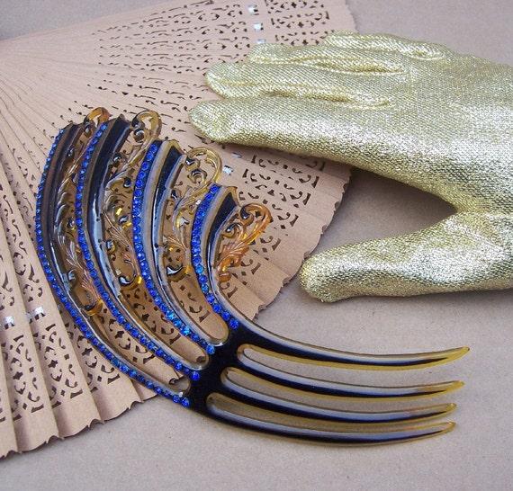 Vintage Hair Comb Art Deco Blue Rhinestone Hair Accessory