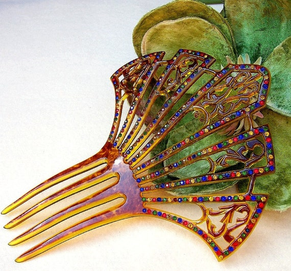 Vintage hair comb Art Deco period faux tortoiseshell multi rhinestone hair accessory