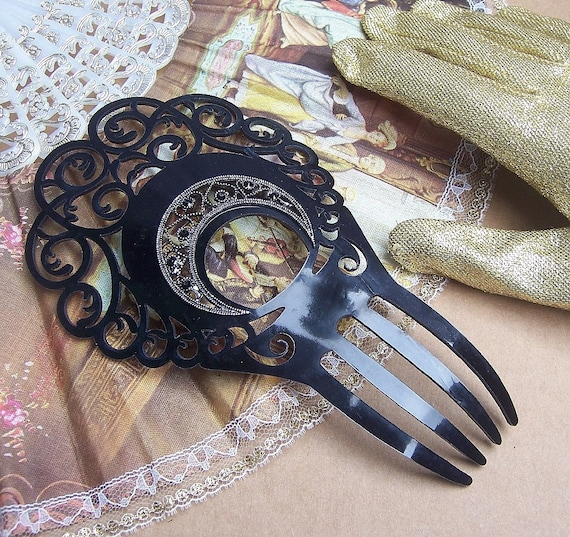 spanish black hair accessory comb