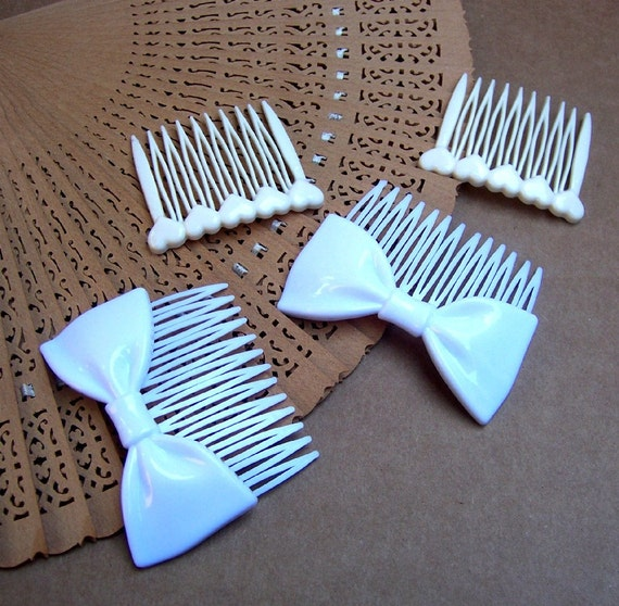 RESERVED 4 KANTASCAT , 4 retro white themed hair accessories