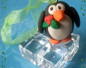 Penguin Christmas Polymer Clay Ornament