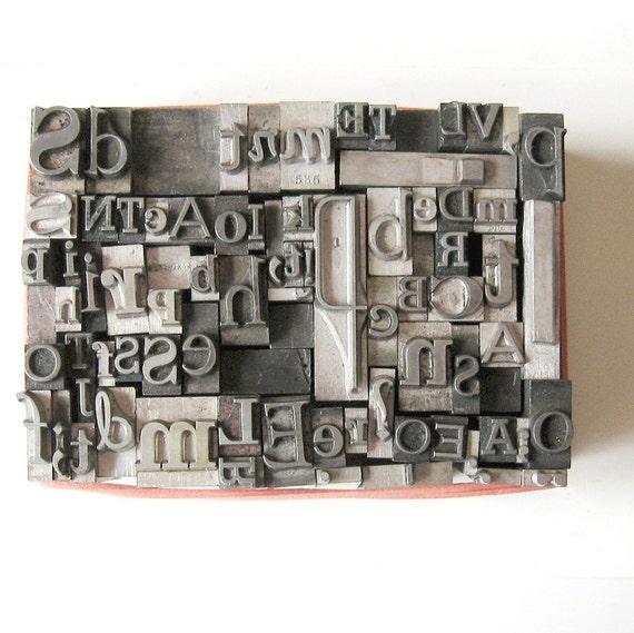 Vintage 50s Mix Metal Letterpress Type 65 Piece Sd