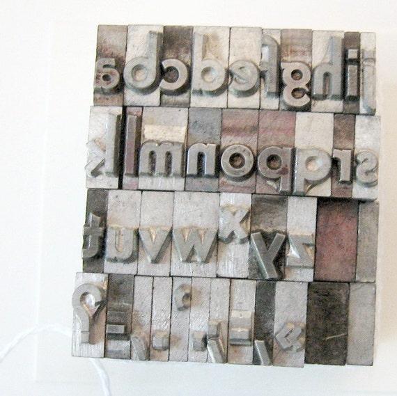 Vintage Sans Serif Bold Metal Letterpress Type 36 pieces Alphabet Lowercase Numbers Symbols
