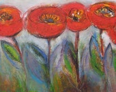 Large abstract fields of Red Poppies, original oil painting Floral landscape horizontal 48x24, art for living, family, study, dining room