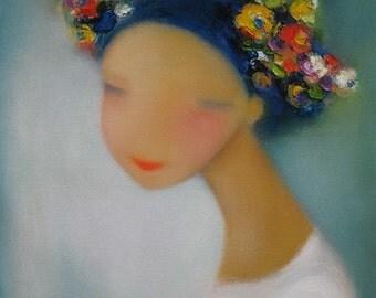 """Adorable sweet Ukrainian girl portrait  12""""x12""""  Open Edition print  Fancy headdress"""