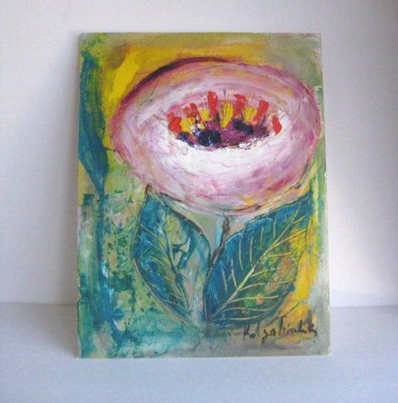 """14,5""""x19,5"""" oil on foan board, original oil painting, Pink Flower"""