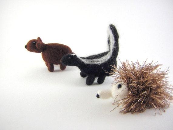 Three Woodland Friends - wool needle felt animals a bear cub hedgehog and skunk