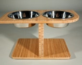 Bamboo Food and Water Stand - Dog Bowls