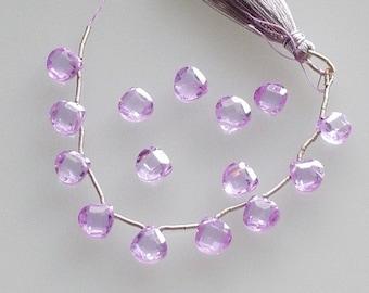 DESTASH - Lilac CZ Heart Briolettes - Light Amethyst - set of 3 beads