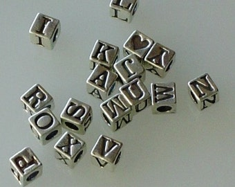 DESTASH - Sterling Silver Letter Beads - 1.25 Each - Bulk 68 pcs Closeout - First Quality