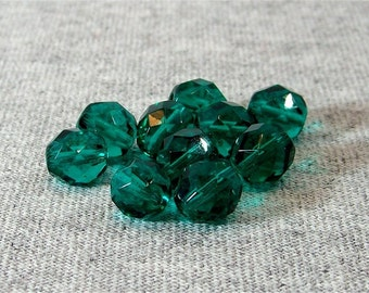 Teal 8mm Czech Fire Polished Glass Beads (10)