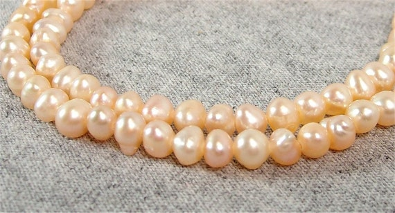 Peach Freshwater Potato Pearls 4mm